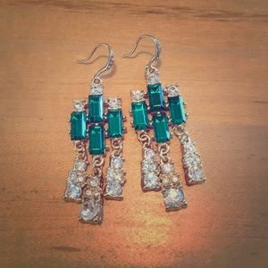 emerald chandeliers drop earrings
